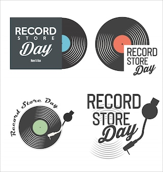 Retro vinyl record store tag hintergrund sammlung