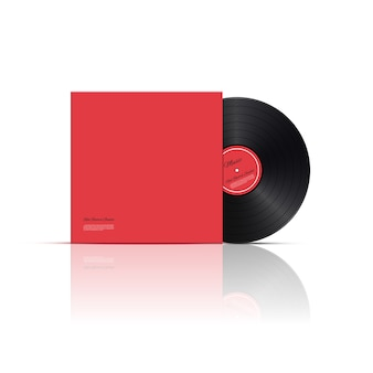 Retro vinyl scheibe mit roter abdeckung.