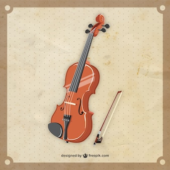 Retro violin in realistischen stil