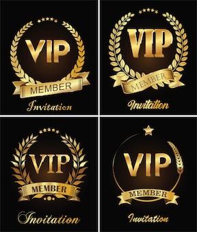 Retro-vorlage der goldenen vip-einladung