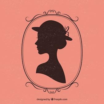 Retro weiblichen silhouette