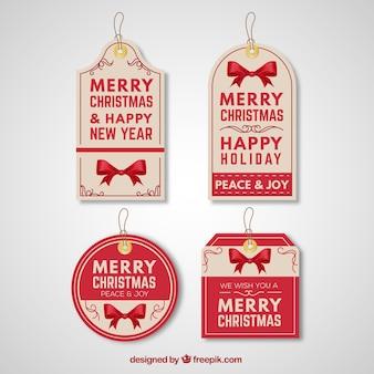 Retro weihnachten und neujahr tags pack