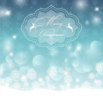 Retro weihnachts abzeichen auf einem bokeh hintergrund mit schneeflocken
