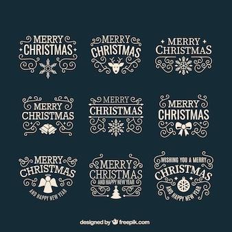 Retro weihnachts abzeichen auf einem dunklen hintergrund