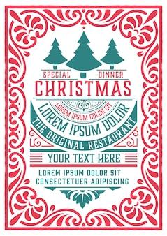 Retro weihnachtsfeier einladung. urlaub flyer oder poster. geschichtet.