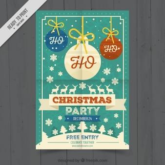 Retro weihnachtsparty broschüre mit kugeln