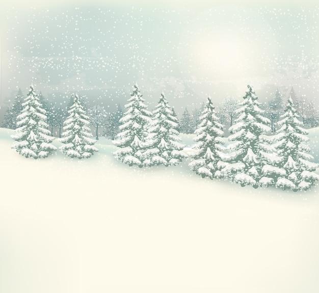 Retro weihnachtswinterlandschaftshintergrund.