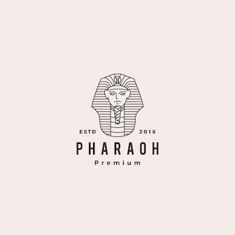 Retro- weinlese-aufkleberillustration des pharao-logovektorhippies