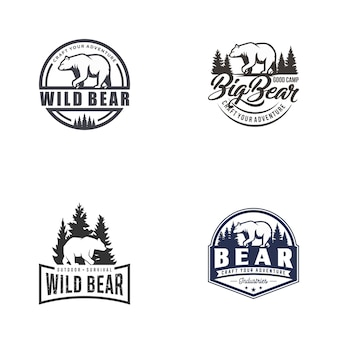 Retro weinlese-bär logo vector template set