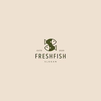 Retro- weinlese des logos des frischen fisches