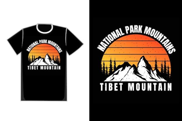 Retro-weinlese des t-shirt-schattenbild-bergnationalpark-sonnenuntergangs
