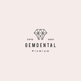 Retro weinlese des zahnmedizinischen logohippies der edelsteine für zahnarzt und zahnheilkunde