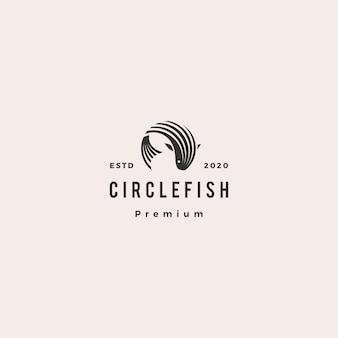Retro- weinlese-ikonenillustration des runden kreisfischlogohippies