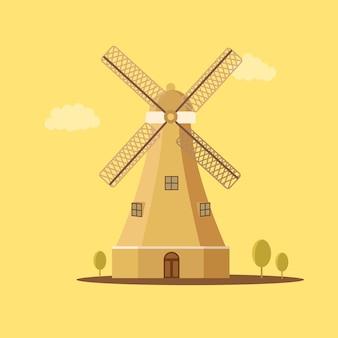 Retro- weinlese / ländliche windmühle lokalisierte vektor-illustration