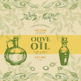 Retro- weinleseartvektor des olivenöls beschriftet