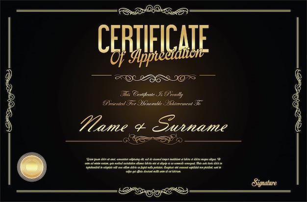 Retro- weinlesedesignschablone des zertifikats oder des diploms