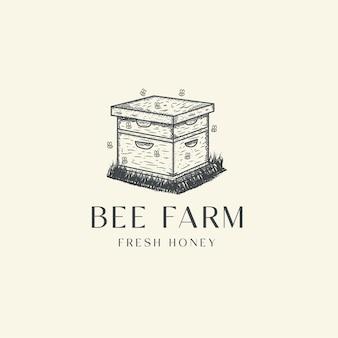 Retro-weinleselogonikonen-entwurfsschablone der bienenfarmgravur