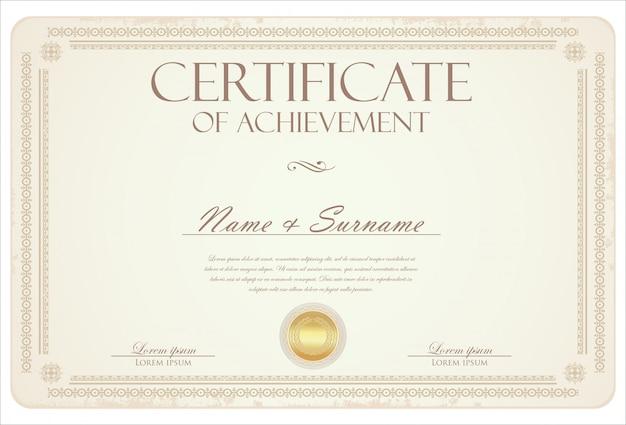 Retro- weinleseschablone des zertifikats oder des diploms