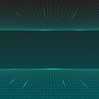 Retro- welle des futuristischen synth, art 80s, zukünftige retro- linie hintergrund