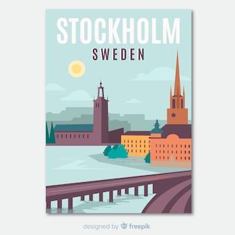 Retro werbeflyer von stockholm vorlage