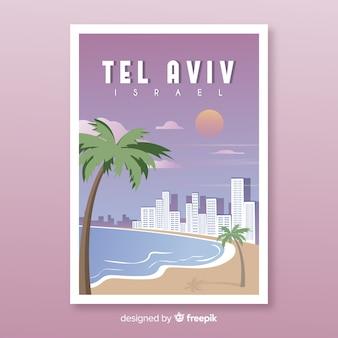 Retro werbeplakat von tel aviv-vorlage