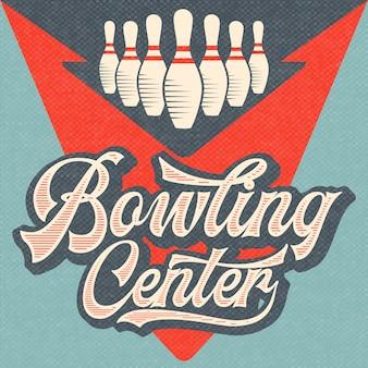 Retro werbung bowling poster. vintage-stil