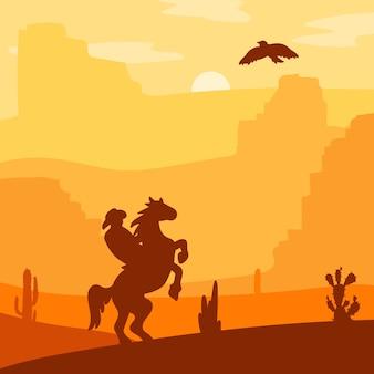 Retro wilder westheld auf galoppierendem pferd in der wüste