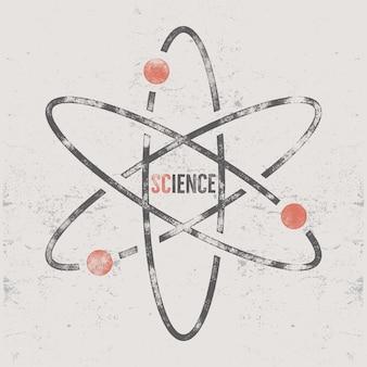Retro- wissenschaftsdesign mit molekülstruktur