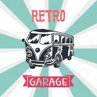 Retro wohnmobil. weinlesebus. altes auto für aufkleber, druck und stoff.