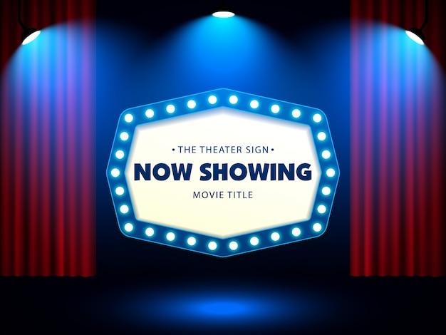 Retro- zeichen des theaters auf rotem vorhang