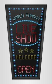 Retro- zeichen mit blaulichtern und das wort leben show