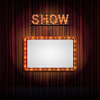Retro- zeichen showtime mit vorhanghintergrund