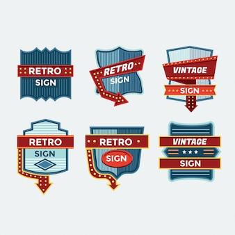 Retro zeichen und vintage neonzeichen bunte sammlung