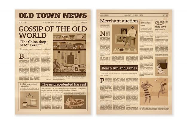 Retro zeitung. tägliche nachrichtenartikel gelbes zeitungspapier altes magazin. medienzeitungsseiten. vintage papierjournal