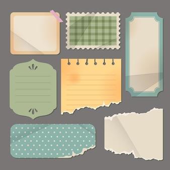 Retro zerrissenes papier und etiketten
