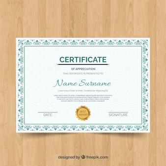 Retro zertifikat vorlage konzept