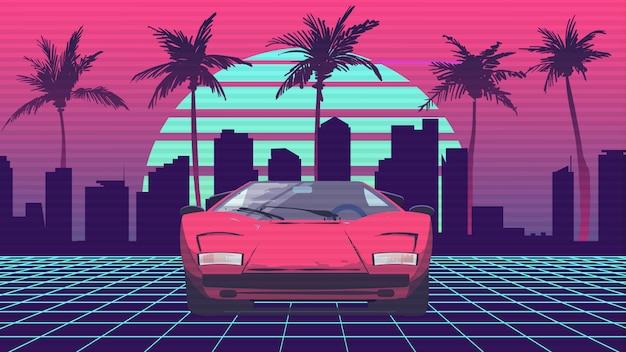 Retro zukunft 80er jahre stil sport in der stadt und palmen
