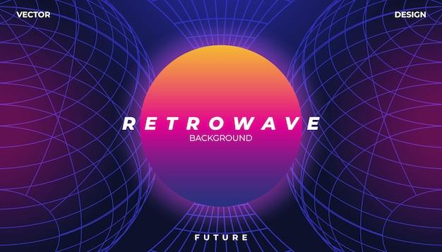 Retrowave cyber neon hintergrund landschaft 80er jahre styled.
