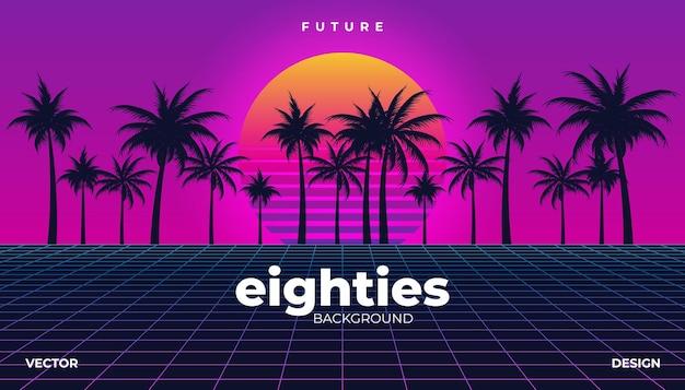 Retrowave, cyber neon hintergrund palmenlandschaft 80er jahre