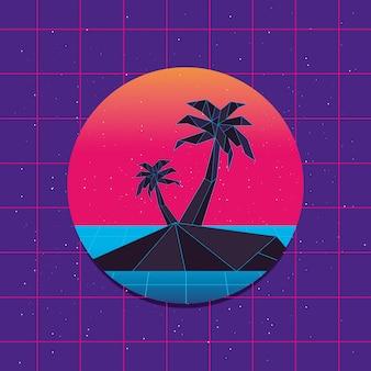 Retrowave der insel mit palmen