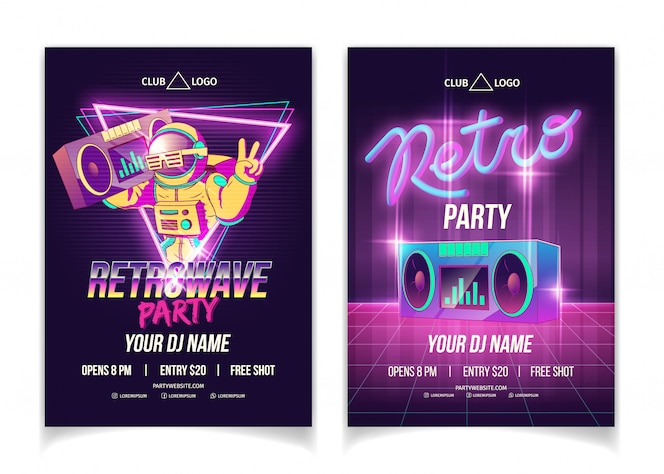 Retrowave-musikparty in der nachtklubkarikatur-anzeigenplakat-, -flieger- oder -plakatschablone in den neonfarben