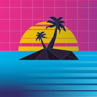 Retrowave sonnenuntergang insel mit palmen hintergrund,