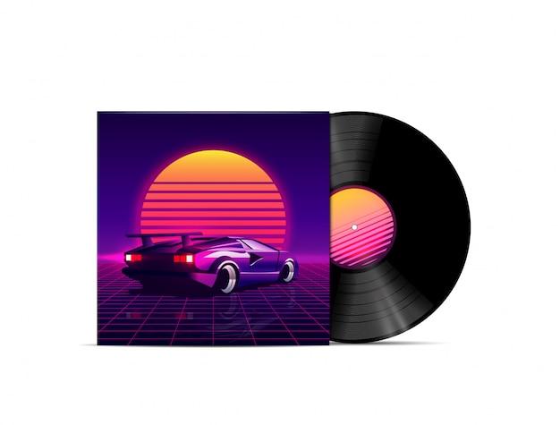 Retrowave, vaporwave, synthwave, dreamwave, musik-playlist im outrun-stil oder album-cover-design mit vinyl-disk-modell mit retro-sonnenuntergang und 80er-supersportwagen. illustration