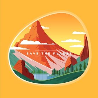 Rette das planetenkonzept mit bergen und natur