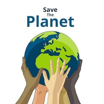 Rette das planetenkonzept mit händen, die die erde anheben