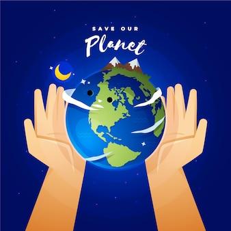 Rette das planetenkonzept mit händen, die die erde halten
