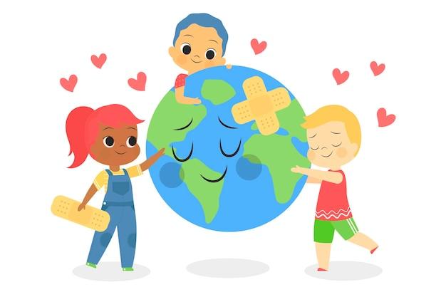 Rette das planetenkonzept mit kindern, die sich um die erde kümmern