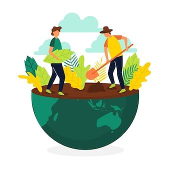 Rette das planetenkonzept mit menschen, die vegetation pflanzen