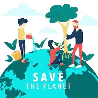Rette das planetenkonzept mit menschen und baum
