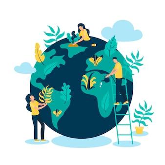 Rette das planetenkonzept mit menschen und globus